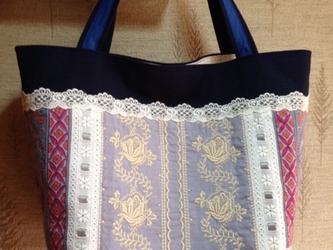 PJC刺繍 シルバーリボン パッチワーク 帆布トートバッグの画像