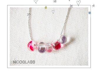 つぶつぶネックレス ピンク系の画像