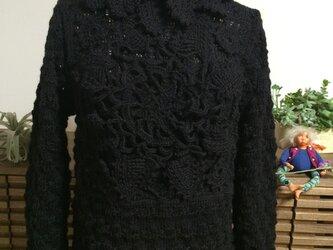 レーシーなオリジナルブラックセーターの画像