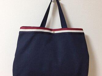紺× 星柄   帆布Tote Bag  Largeの画像