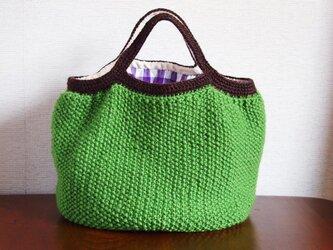 WOOL!かのこ編みのグラニーバッグ*グリーン×ブラウンの画像