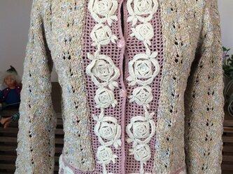 春色バラ刺繍カーディガンの画像