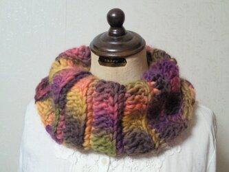 虹色♪もこもこ手編みスヌードの画像