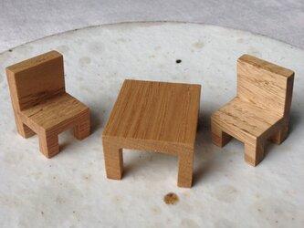 カフェテーブルセット(栗)の画像