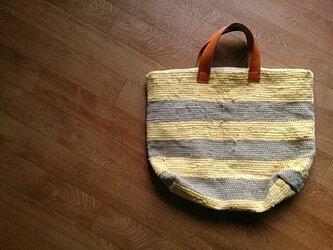 着物リメイク 黄色とベージュのしましま裂き織りバッグの画像