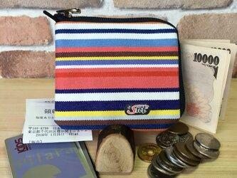 旅行に便利、カード・お札・コイン用 帆布財布 赤系の画像