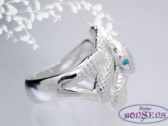 天然石ブルーダイヤ Silver925 蛇 スネーク リング サイズ#7~#21の画像