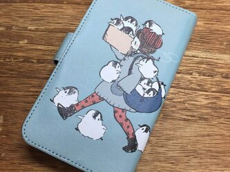 スマホ用手帳型ケース もこもこペンギンタイムの画像