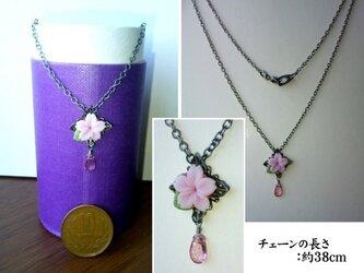 桜とピンクトパーズのネックレスの画像