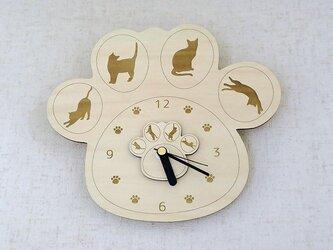 肉球時計 猫ちゃんシルエット付(木製)/掛け時計の画像