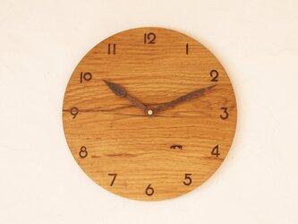 掛け時計 丸 楢材⑯の画像