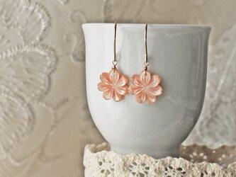 ◆K14gf、ピンクシェル、フラワー、春桜、ひと粒ピアス、イヤリの画像