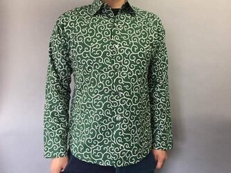 長袖和柄シャツ(細唐草模様)緑の画像