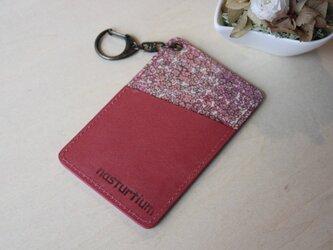 牛本革とリバティープリントのパスケース  ピンクの画像