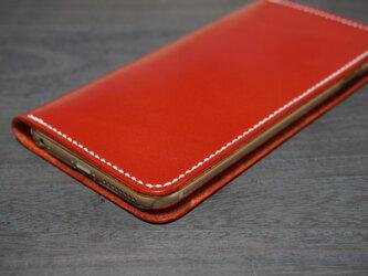 牛革 iPhone6Plus/6sPlusカバー  ヌメ革  レザーケース  手帳型  レッドカラーの画像