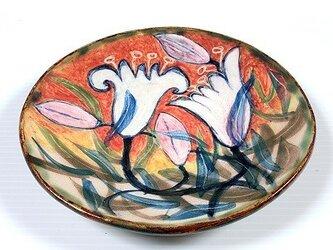 白百合の絵皿の画像