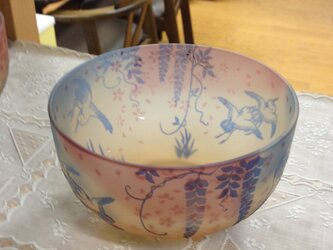 春の声三色鉢(鷺)の画像