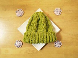 春色ニット帽 若草色 グリーン 男女兼用の画像