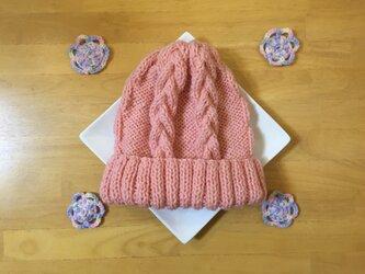 春色ニット帽 桜色 男女兼用の画像