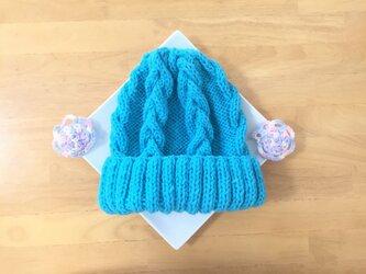 春色ニット帽 ブルーハワイ 男女兼用の画像
