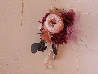 大人ピンクなオールドローズコサージュ Bの画像