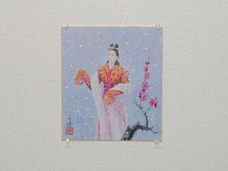 日本画色紙 「天より雪の」 値下げ再出品の画像