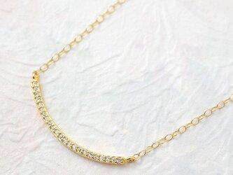 送料無料[14kgf]ゴールドバー カーブジルコニア ネックレスの画像