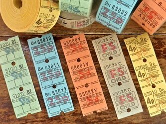 Vintageバスチケット5色15枚セット DA-CO026の画像