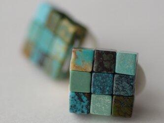 江戸の小袖™シリーズ(天然石・ターコイズ)  イヤリングの画像