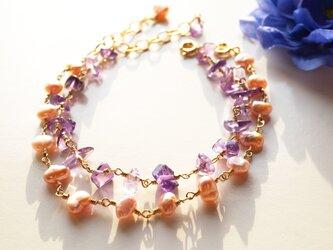 アメジスト&淡水パールブレス Amethyst&Pearl 2way bracelet B0021の画像