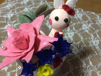 うさぎさん花畑の画像
