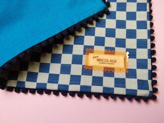 藍染 クッションカバー(市松)の画像