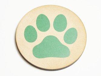肉球コースター 円型 グリーンの画像