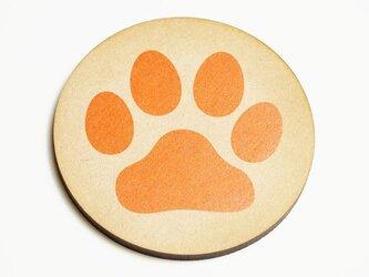 肉球コースター 円型 オレンジの画像