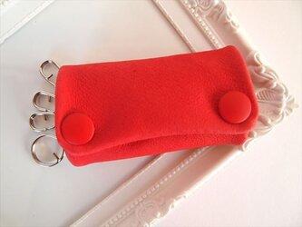 【フルレッド】ぶた革やわらかキーケース【受注生産】赤色レザー 1611002の画像