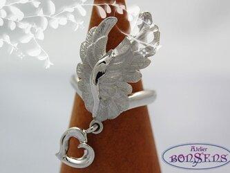 Silver 925 天使の翼 リング ハート付 サイズ#7~#18の画像