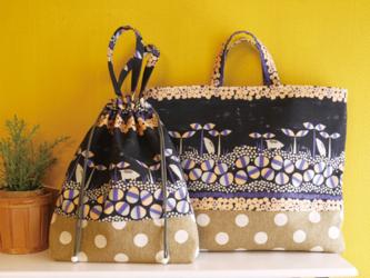 お着替えバッグ:オリジナルテキスタイルうり坊柄の画像
