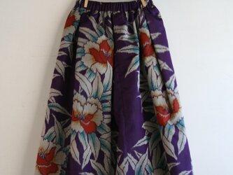 銘仙 紫牡丹のギャザースカート Sサイズの画像