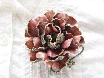 革のコサージュ オールドローズ(ピンクゴールド)の画像