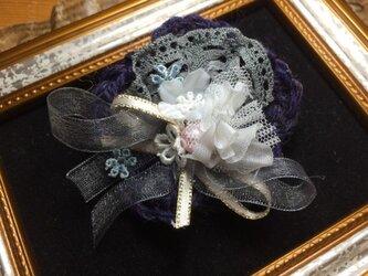 紺色お花のヘアピン〜シエルライン〜の画像