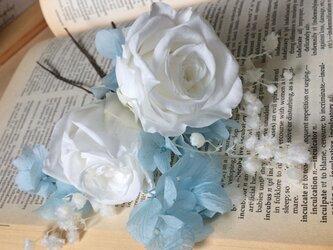大輪バラのサムシングブルー髪飾り★プリザ★の画像