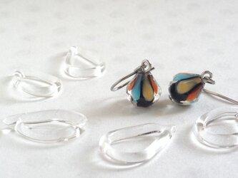 GLASS * nasubi(茄子) ピアス(黒地×オレンジ系)【受注制作】の画像