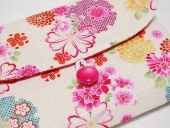 16×11サイズ御朱印帳入れ_桜牡丹に水玉模様の画像