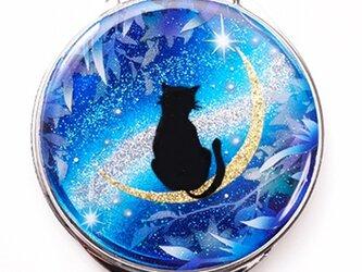 コンパクトミラー 猫と月~星に願いを~黒猫Ver.  の画像