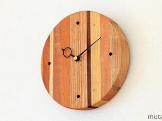 寄せ木の壁掛け時計 円形 25の画像