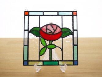 ステンドグラス ミニパネル バラ 15cmの画像
