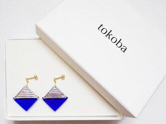 tokoba クリスタルピアス B-accent (blue)の画像