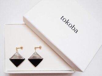 tokoba クリスタルピアス B-accent (black)の画像