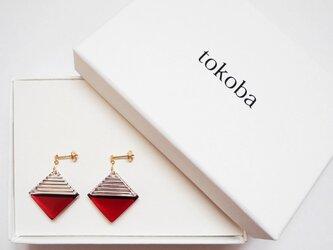 tokoba クリスタルピアス B-accent (red)の画像