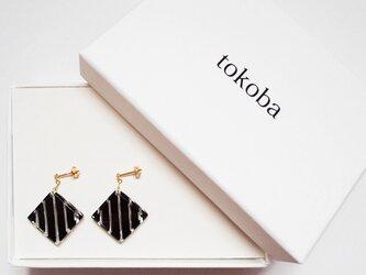 tokoba クリスタルピアス B-stripe (black)の画像